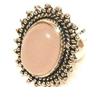 Rose Quartz NWT German Silver Ring Ladies size 5.5